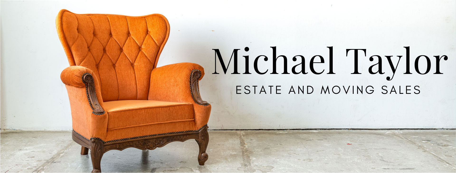 Orange wingback vintage armchair with a link to Michael Taylor Estate and Moving Sales' Calendar